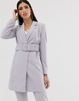 Parallel Lines longline tailored blazer coord with belt in soft grey