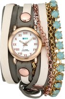 "La Mer Women's LMMULTI5002 ""St. Tropez"" Stainless Steel, Rose Gold, and Leather Wrap Watch"