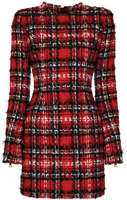 Balmain Checked Tweed Mini Dress