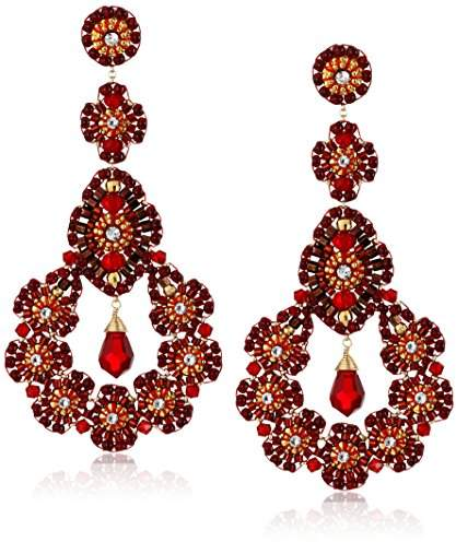 Miguel Ases Rubellite Bead 14k Gold-Filled Nest Earrings