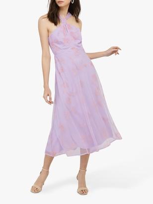 Monsoon Gabriella Embroidered Maxi Dress, Purple