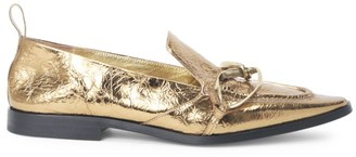 Dries Van Noten Twisted-Hardware Metallic Leather Loafers