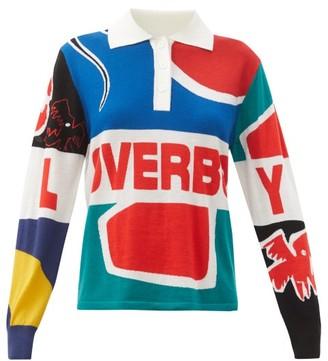 Charles Jeffrey Loverboy Art & Logo-intarsia Merino-wool Rugby Shirt - Multi