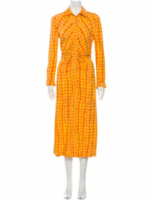 Altuzarra Plaid Print Long Dress Yellow