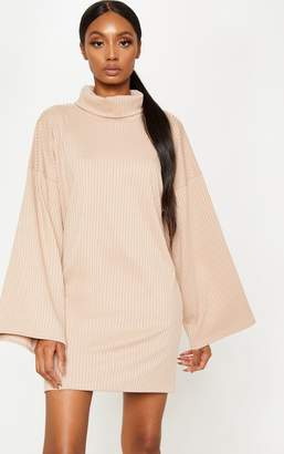 PrettyLittleThing Black Wide Rib High Neck Oversized Jumper Dress