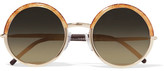Cutler and Gross - Round-frame Glittered Acetate, Gold-tone And Leather Sunglasses - Bronze