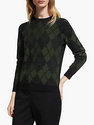 John Lewis & Partners Argyle Intarsia Sweater, Khaki/Black