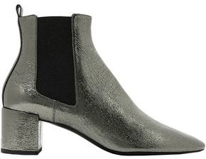 Saint Laurent Metallic Cracked-leather Ankle Boots
