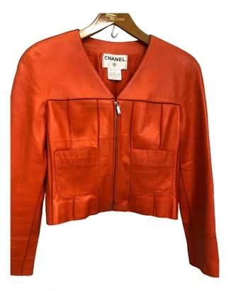 Chanel Orange Leather Leather Jacket for Women Vintage