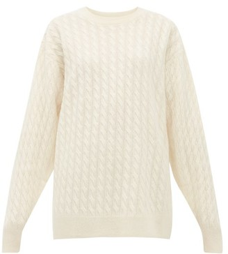 The Row Minorj Cable-knit Cashmere-blend Sweater - Womens - Ivory