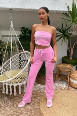 Juicy Couture UO Exclusive Ice Pink Flared Track Pants - Pink XS at Urban Outfitters