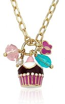 "Little Miss Twin Stars ""Candyland"" 14k Gold-Plated Chocolate Cupcake Cluster on Heavy Chain Necklace"