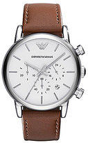Emporio Armani Men's Classic Brown Leather Strap Stainless Steel Chronograph Watch