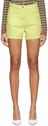 MSGM Yellow Denim Shorts