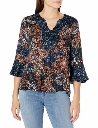 Tribal Women's Printed Stretch Challis 3/4 Sleeve Blouse