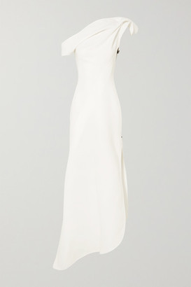 Maticevski Slinger One-shoulder Asymmetric Cady Gown - White