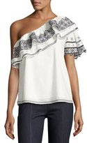 Parker Mary Embroidered One-Shoulder Blouse, White