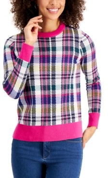 Charter Club Contrast-Trim Plaid Sweater, Created for Macy's