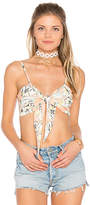 MinkPink Palm Springs Tie Front Crop Top in Peach. - size L (also in M,S,XS)