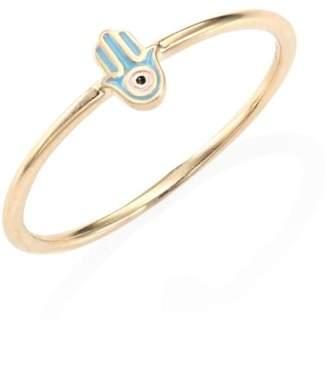 Sydney Evan Mini Hamsa Enamel & 14K Yellow Gold Ring