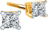 JCPenney FINE JEWELRY 1/4 CT. T.W. Diamond 14K Yellow Princess-Cut Stud Earrings