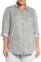 Foxcroft Animal Print Tencel ® Roll Sleeve Tunic Shirt (Plus Size)
