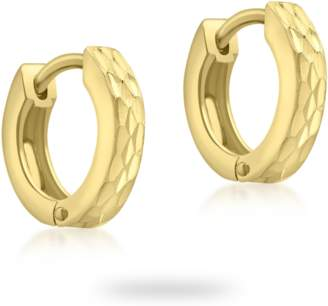 Goldsmiths 9ct Yellow Gold Pyramid Creole Hoop Earrings