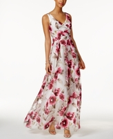 Betsy & Adam Petite Floral-Print Gown