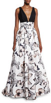 Monique Lhuillier Sleeveless Pleated Butterfly-Print Gown, Black/Multicolor