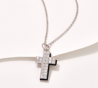 Diamonique Cross with Enamel Outline, Sterling Silver
