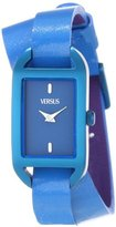 Versus By Versace Women's SGQ030013 Ibiza Rectangular Royal Blue Aluminum Case Leather Strap Patent Top Watch