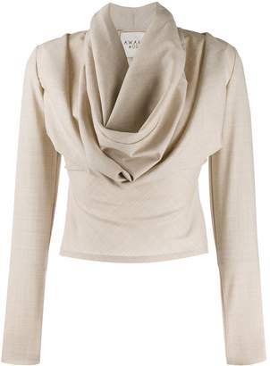 A.W.A.K.E. Mode draped neck fitted top