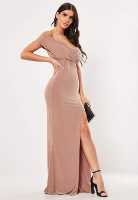 Missguided Mink Bardot Wrap Slit Slinky Maxi Dress