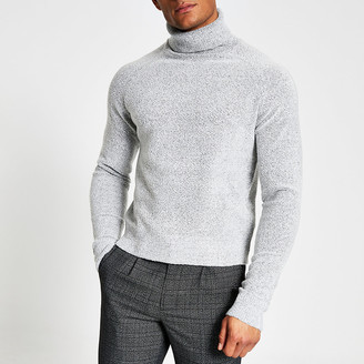 River Island Grey roll neck boxy fit boucle knit jumper