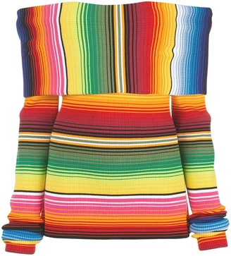 Carolina Herrera Off-The-Shoulder Striped Knitted Top