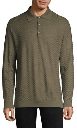 Larusmiani Long-Sleeve Wool Jacquard Polo