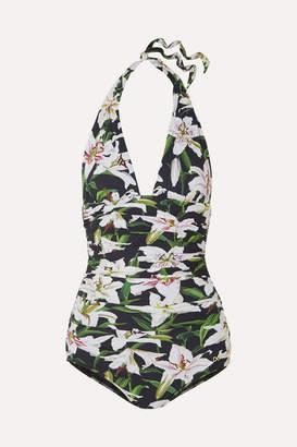 Dolce & Gabbana Ruched Floral-print Halterneck Swimsuit - Black