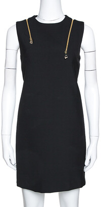 Versace Black Knit Shoulder Zip Detail Sleeveless Dress S