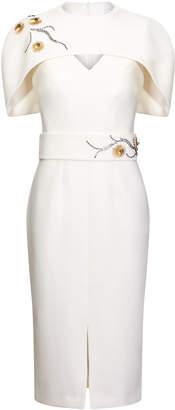 Safiyaa Rosa Cape-Effect Embroidered Crepe Midi Dress
