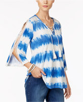 Style&Co. Style & Co Split-Sleeve Striped Top, Only at Macy's