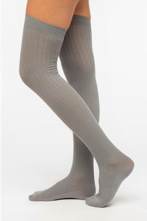 Urban Outfitters Velvet Heart Textured Rib Thigh-High Sock