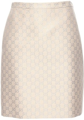 Gucci Gg Light Lame Wool Blend Mini Skirt