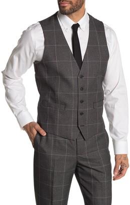 Moss Bros Medium Grey Plaid Regular Fit Suit Separates Vest