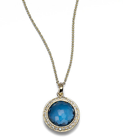 Ippolita Lollipop London Blue Topaz, Diamond & 18K Yellow Gold Mini Pendant Necklace