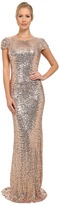 Badgley Mischka Stretch Sequin Cowl Back Gown