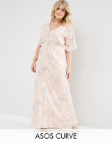 Asos WEDDING Maxi Dress In Soft Rose Print
