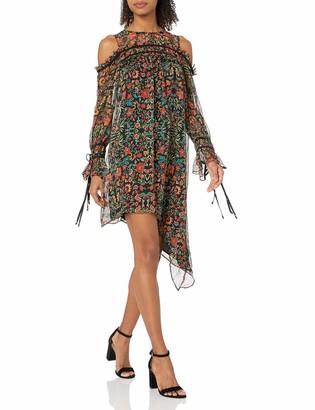 Adelyn Rae Women's Portia Woven Printed Cold Shoulder Asymmetrical Shift Dress
