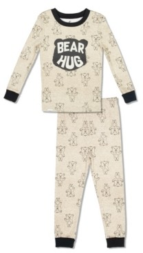 Free 2 Dream Boy and Girls Toddler, Little and Big Bear Hug 2 Piece Cotton Pajama Set with Grow with Me Cuffs