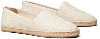 Tory Burch Diamond Quilted Logo Espadrille Flat