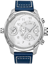 JBW Silvertone & Navy G3 Leather-Strap Watch - Men